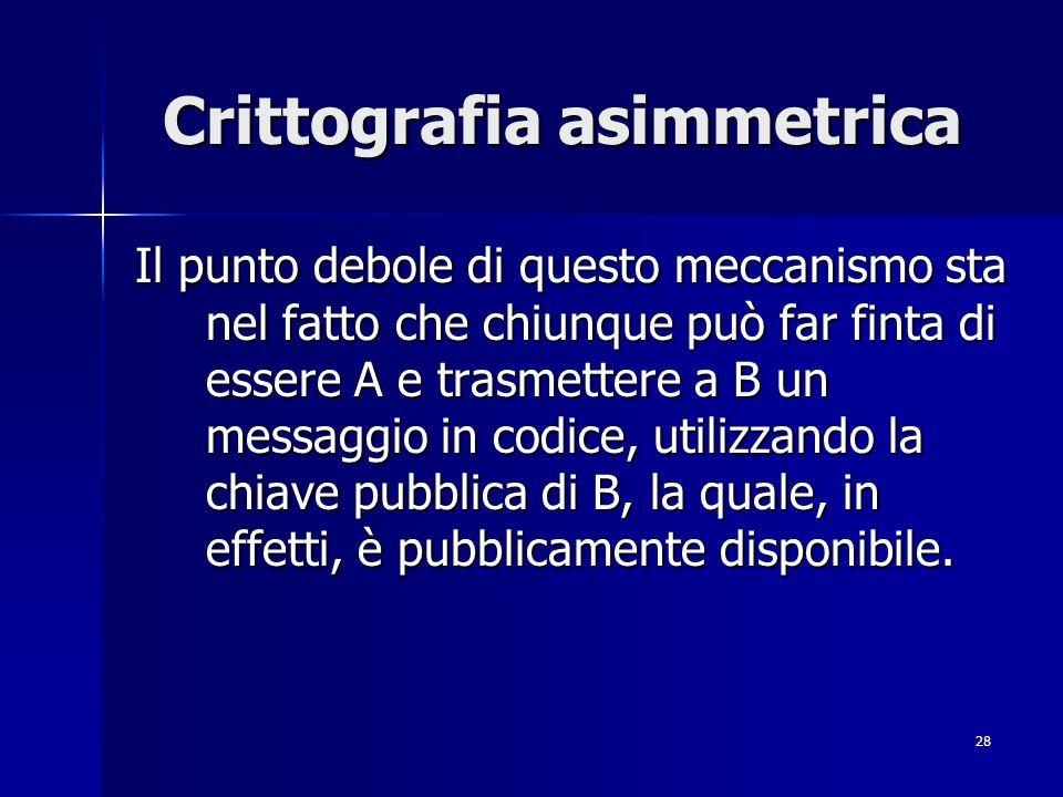 28 Crittografia asimmetrica Il punto debole di questo meccanismo sta nel fatto che chiunque può far finta di essere A e trasmettere a B un messaggio i