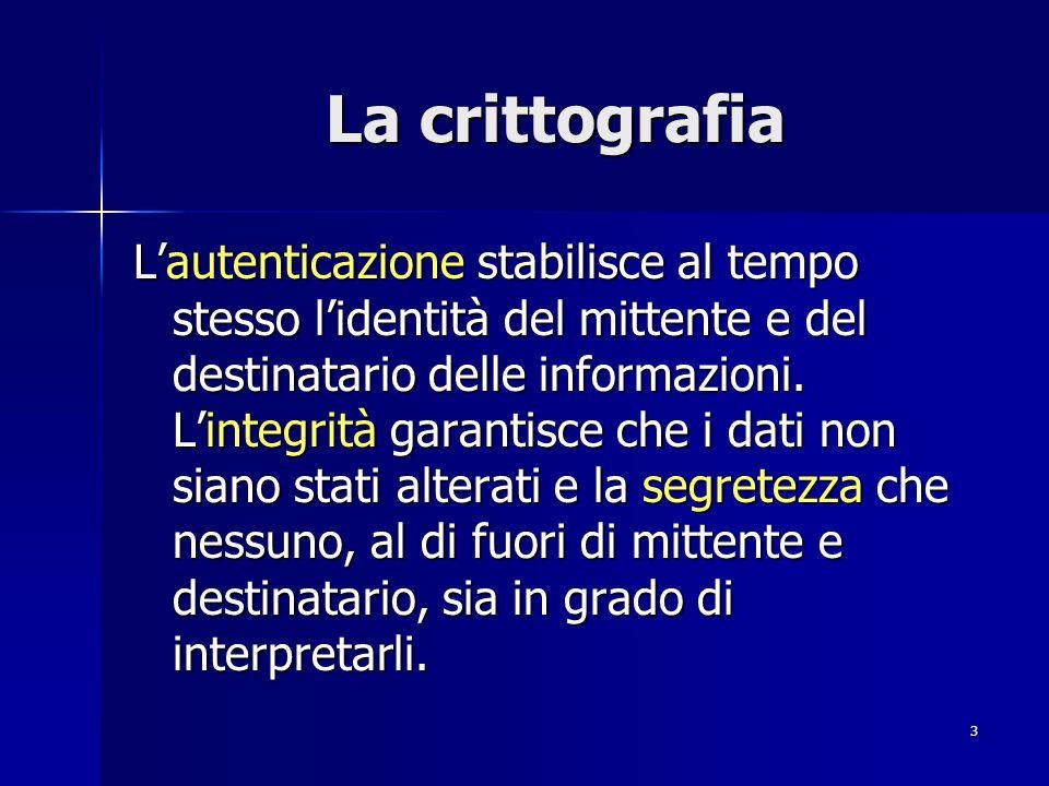3 La crittografia Lautenticazione stabilisce al tempo stesso lidentità del mittente e del destinatario delle informazioni. Lintegrità garantisce che i