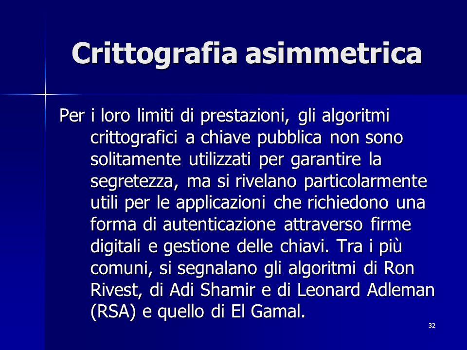 32 Crittografia asimmetrica Per i loro limiti di prestazioni, gli algoritmi crittografici a chiave pubblica non sono solitamente utilizzati per garant