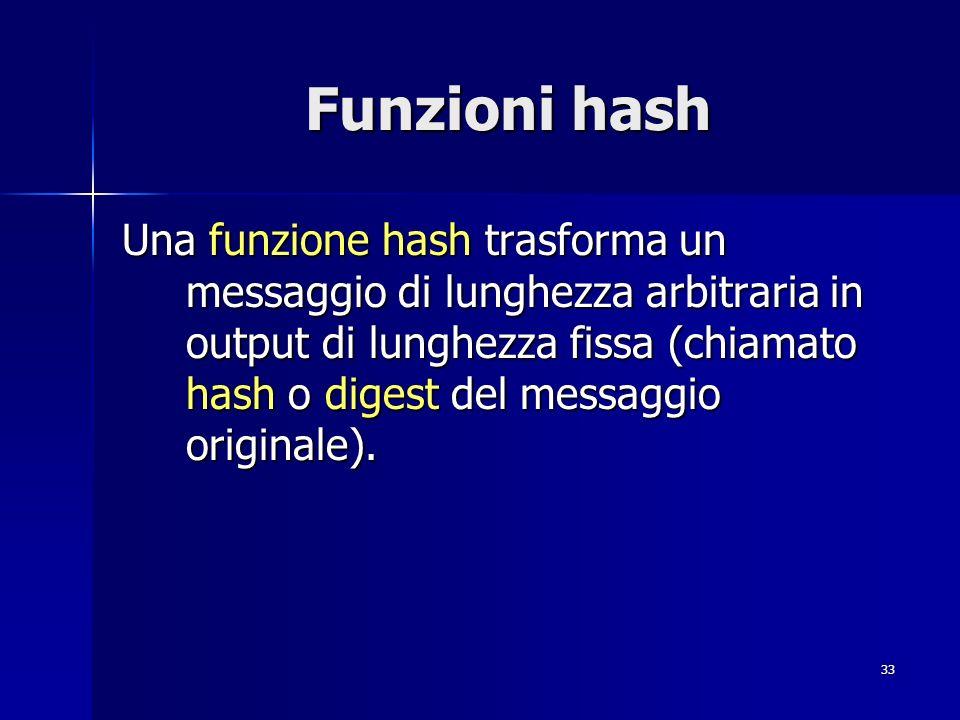 33 Funzioni hash Una funzione hash trasforma un messaggio di lunghezza arbitraria in output di lunghezza fissa (chiamato hash o digest del messaggio o