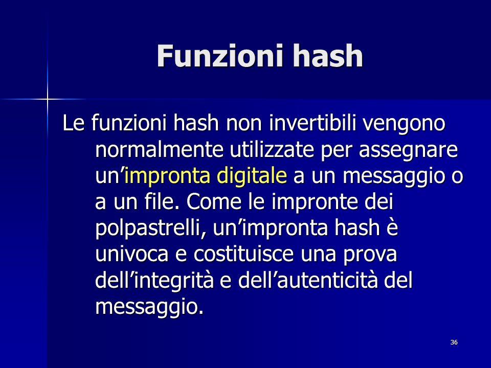 36 Funzioni hash Le funzioni hash non invertibili vengono normalmente utilizzate per assegnare unimpronta digitale a un messaggio o a un file. Come le