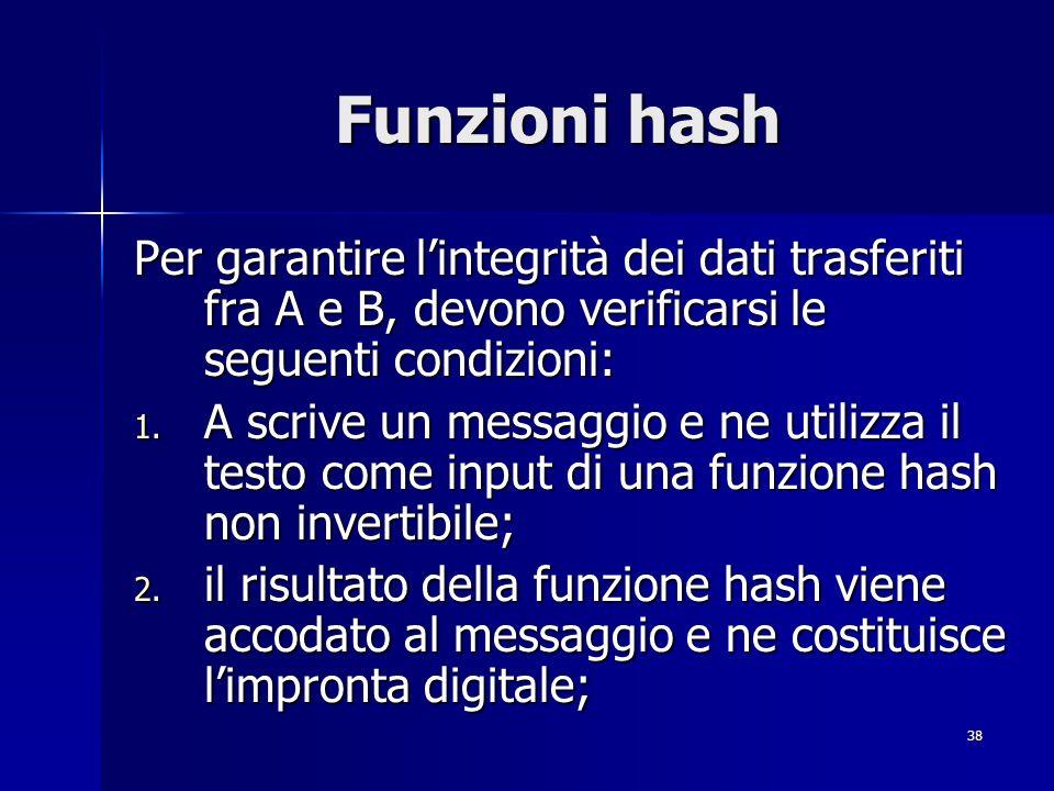 38 Funzioni hash Per garantire lintegrità dei dati trasferiti fra A e B, devono verificarsi le seguenti condizioni: 1. A scrive un messaggio e ne util
