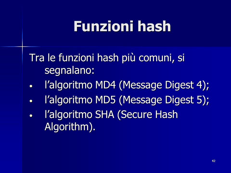 42 Funzioni hash Tra le funzioni hash più comuni, si segnalano: lalgoritmo MD4 (Message Digest 4); lalgoritmo MD4 (Message Digest 4); lalgoritmo MD5 (