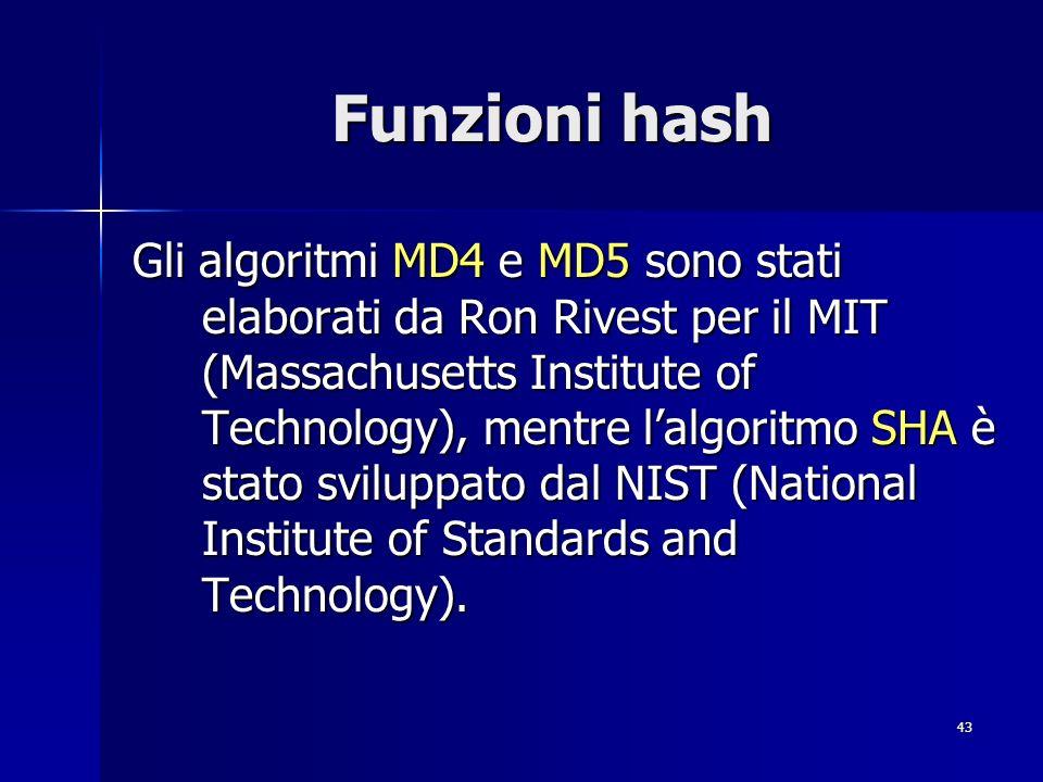 43 Funzioni hash Gli algoritmi MD4 e MD5 sono stati elaborati da Ron Rivest per il MIT (Massachusetts Institute of Technology), mentre lalgoritmo SHA