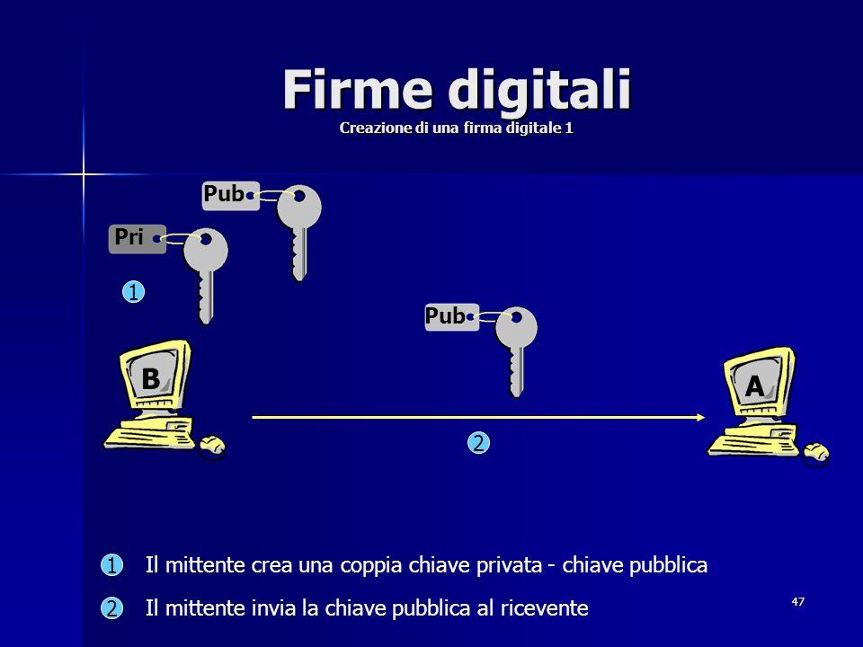 47 Firme digitali Creazione di una firma digitale 1 Pub Pri 2 1 1 2 Il mittente crea una coppia chiave privata - chiave pubblica Il mittente invia la