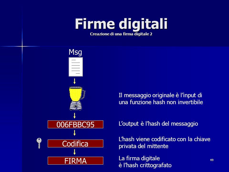 49 Firme digitali Creazione di una firma digitale 2 Msg 006FBBC95 Codifica FIRMA Il messaggio originale è linput di una funzione hash non invertibile
