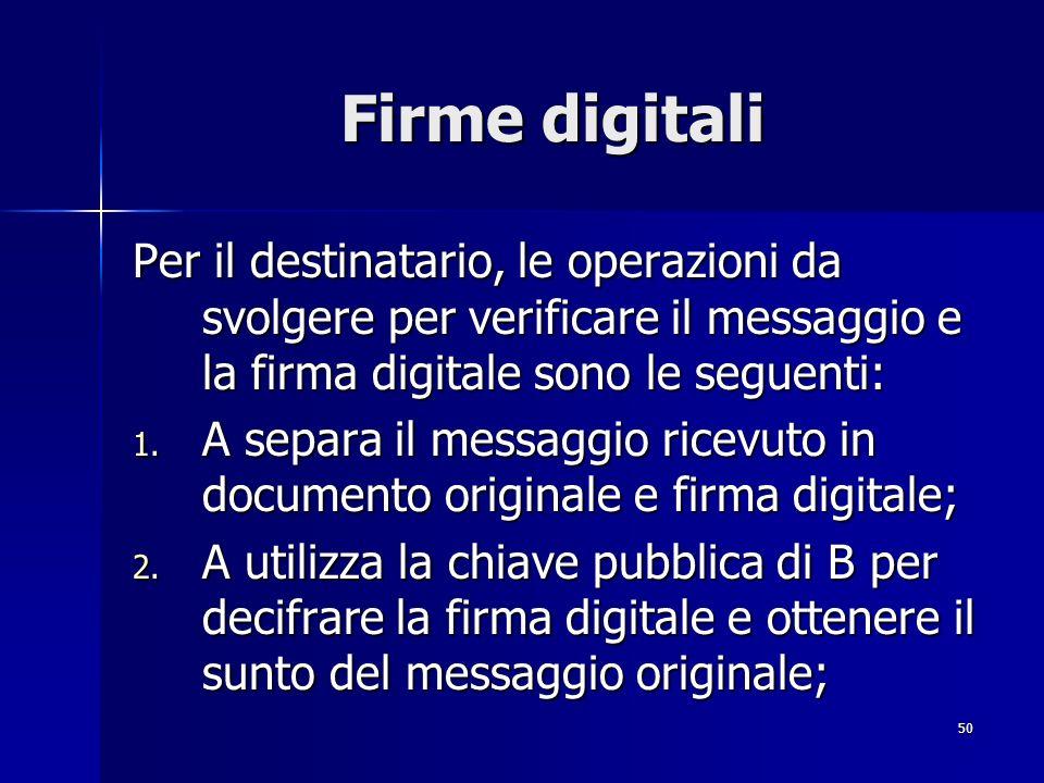 50 Firme digitali Per il destinatario, le operazioni da svolgere per verificare il messaggio e la firma digitale sono le seguenti: 1. A separa il mess