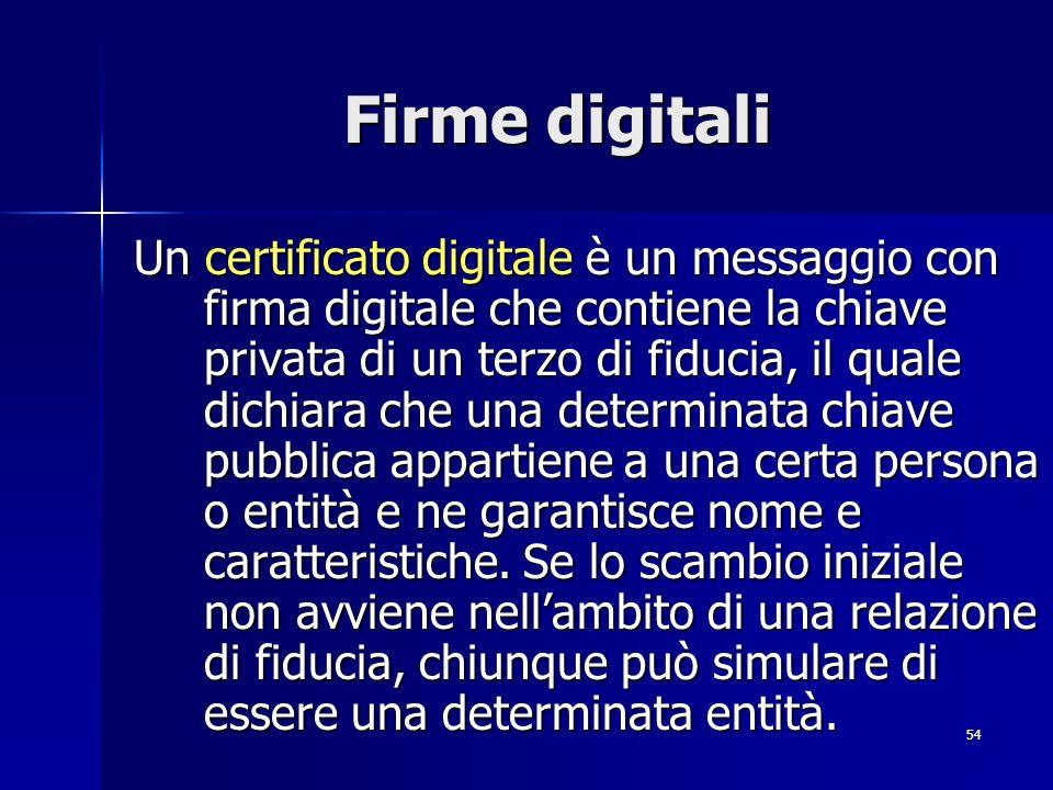 54 Firme digitali Un certificato digitale è un messaggio con firma digitale che contiene la chiave privata di un terzo di fiducia, il quale dichiara c