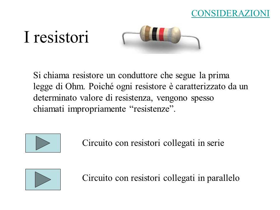 Resistori collegati in serie Lintensità di corrente I è la stessa in ogni punto del circuito.