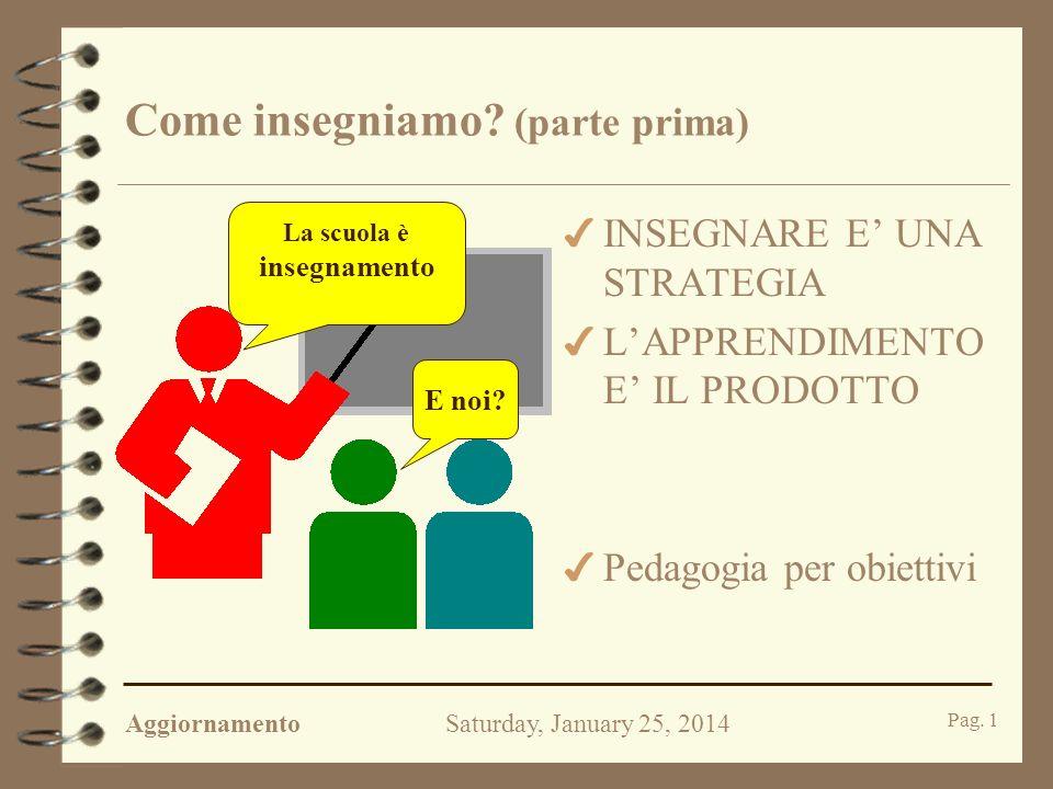 AggiornamentoSaturday, January 25, 2014 Pag.1 Come insegniamo.