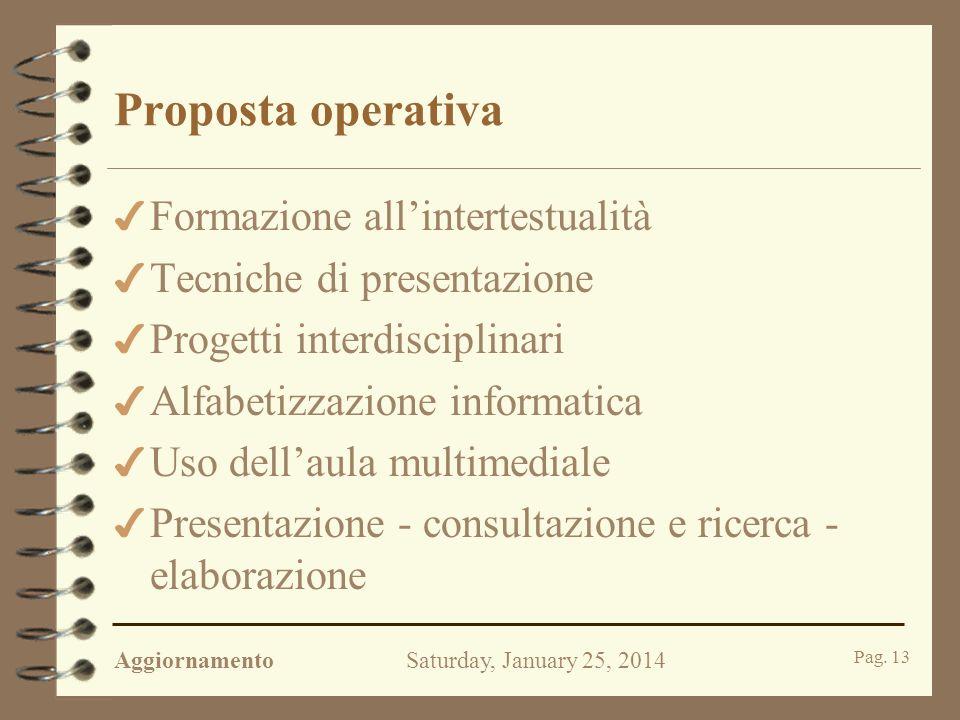 AggiornamentoSaturday, January 25, 2014 Pag. 12 La lezione