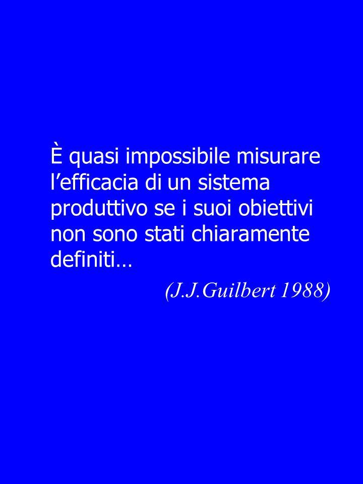 È quasi impossibile misurare lefficacia di un sistema produttivo se i suoi obiettivi non sono stati chiaramente definiti… (J.J.Guilbert 1988)