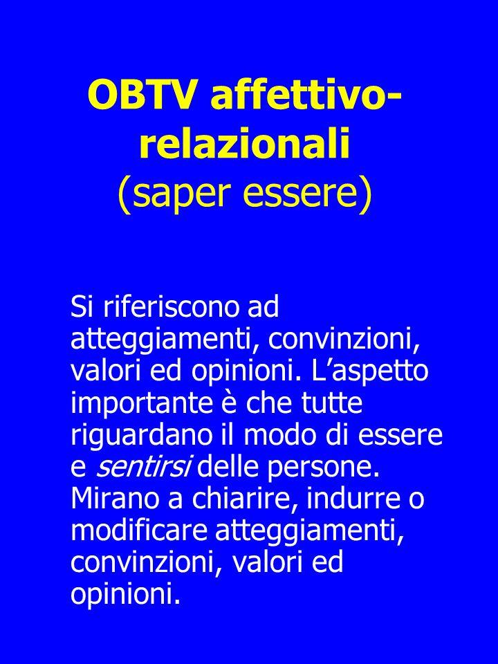 OBTV affettivo- relazionali (saper essere) Si riferiscono ad atteggiamenti, convinzioni, valori ed opinioni.