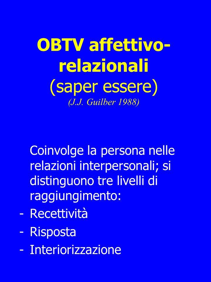 OBTV affettivo- relazionali (saper essere) (J.J.