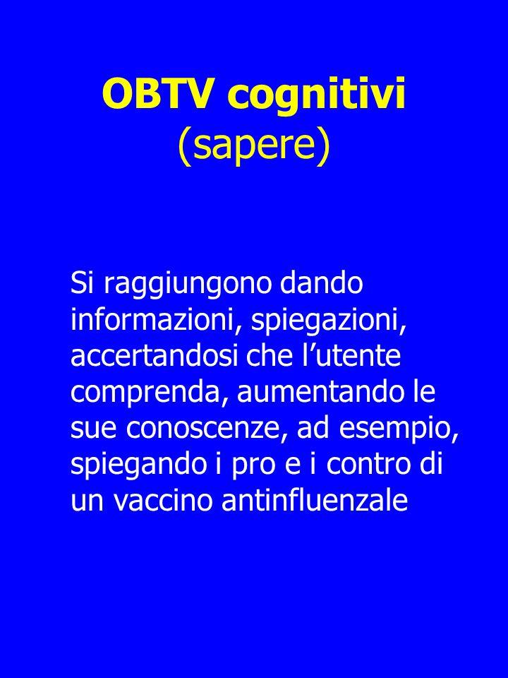 OBTV cognitivi (sapere) Si raggiungono dando informazioni, spiegazioni, accertandosi che lutente comprenda, aumentando le sue conoscenze, ad esempio, spiegando i pro e i contro di un vaccino antinfluenzale