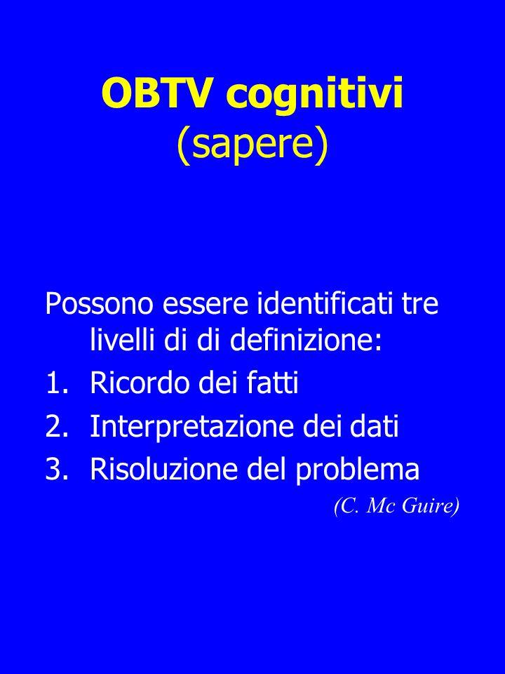 OBTV cognitivi (sapere) Possono essere identificati tre livelli di di definizione: 1.Ricordo dei fatti 2.Interpretazione dei dati 3.Risoluzione del problema (C.