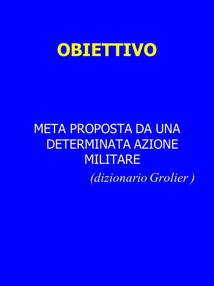 OBIETTIVO META PROPOSTA DA UNA DETERMINATA AZIONE MILITARE (dizionario Grolier )