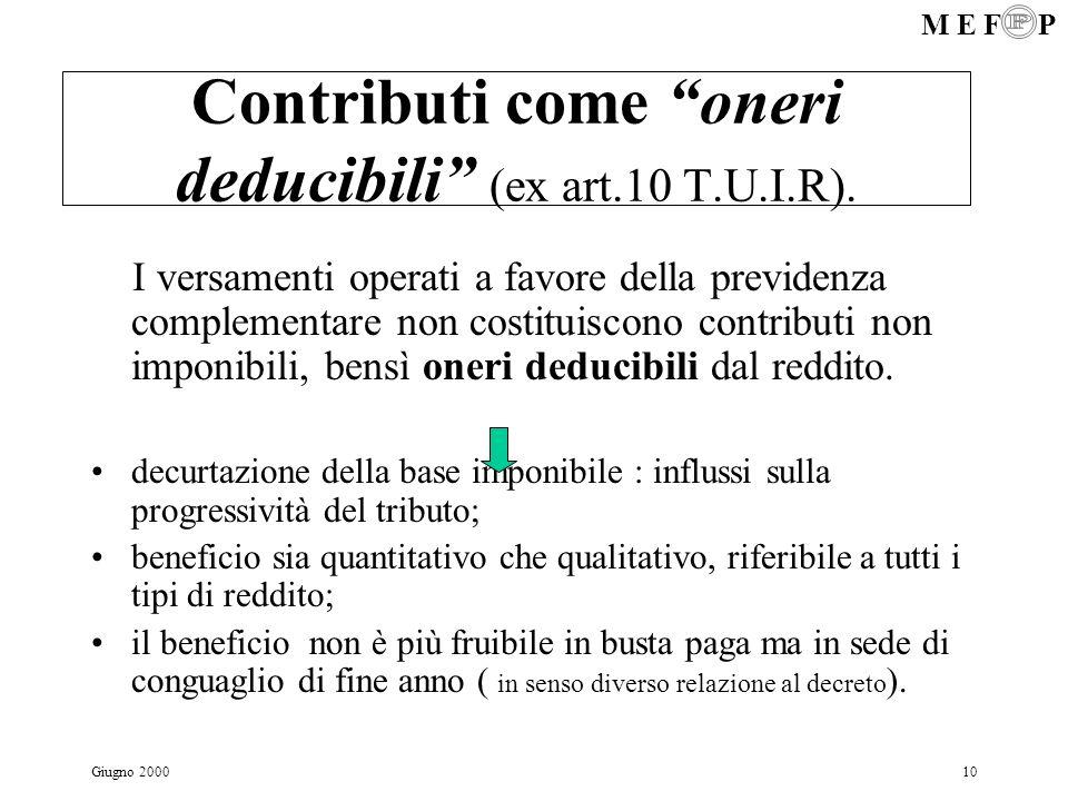 M E F P Giugno 200010 Contributi come oneri deducibili (ex art.10 T.U.I.R). I versamenti operati a favore della previdenza complementare non costituis