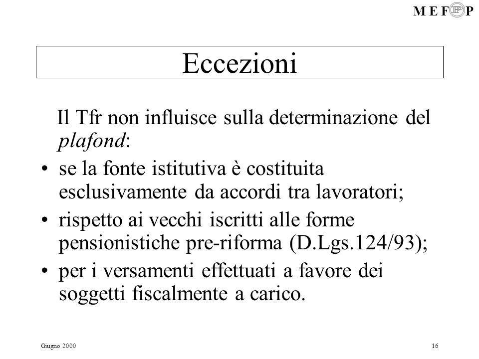 M E F P Giugno 200016 Eccezioni Il Tfr non influisce sulla determinazione del plafond: se la fonte istitutiva è costituita esclusivamente da accordi t