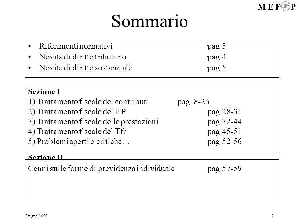 M E F P Giugno 20003 Riforma fiscale dei Fondi pensione Riferimenti normativi: D.Lgs.124/93 Legge 335/95 Legge 133/99 D.Lgs.144/99 D.Lgs.