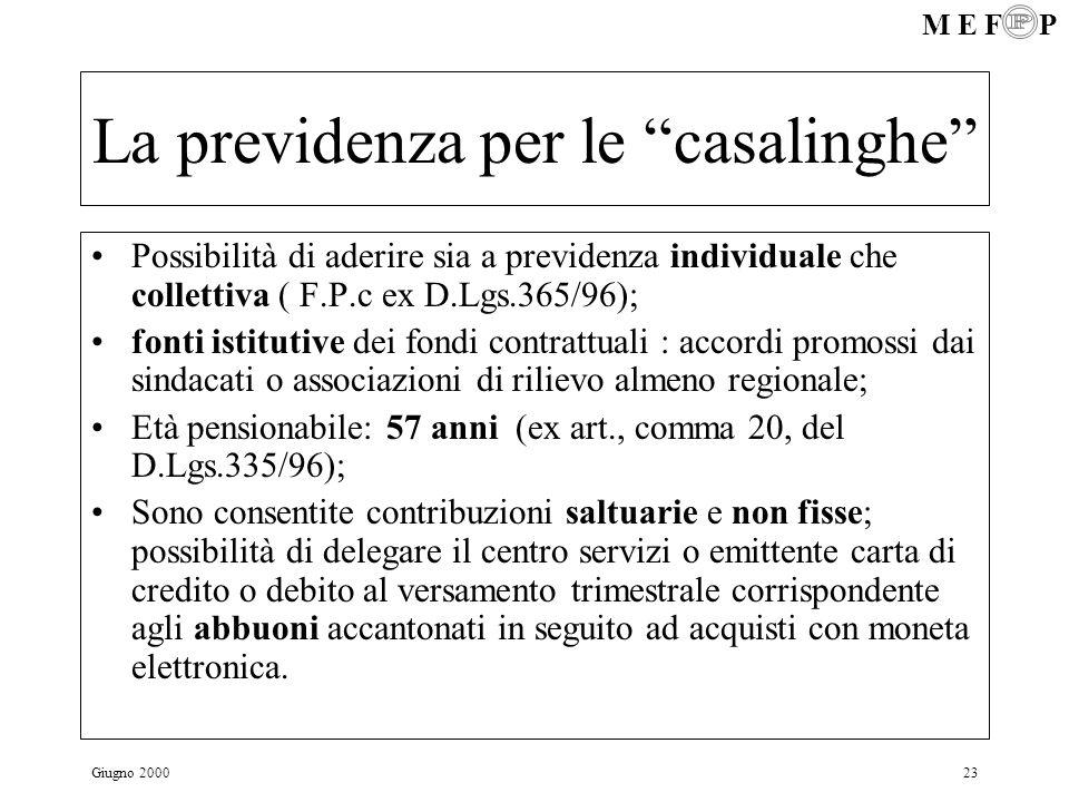 M E F P Giugno 200023 La previdenza per le casalinghe Possibilità di aderire sia a previdenza individuale che collettiva ( F.P.c ex D.Lgs.365/96); fon