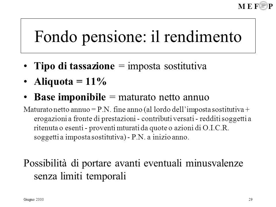 M E F P Giugno 200029 Fondo pensione: il rendimento Tipo di tassazione = imposta sostitutiva Aliquota = 11% Base imponibile = maturato netto annuo Mat