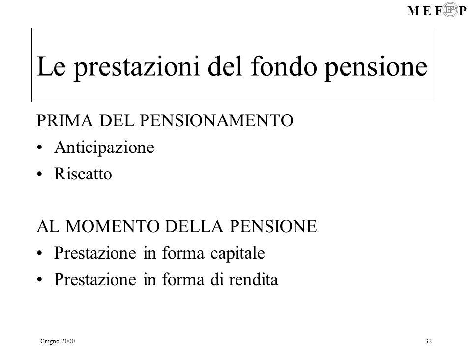 M E F P Giugno 200032 Le prestazioni del fondo pensione PRIMA DEL PENSIONAMENTO Anticipazione Riscatto AL MOMENTO DELLA PENSIONE Prestazione in forma