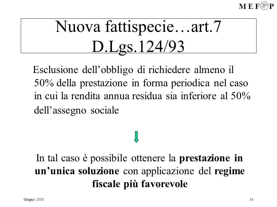 M E F P Giugno 200034 Nuova fattispecie…art.7 D.Lgs.124/93 Esclusione dellobbligo di richiedere almeno il 50% della prestazione in forma periodica nel