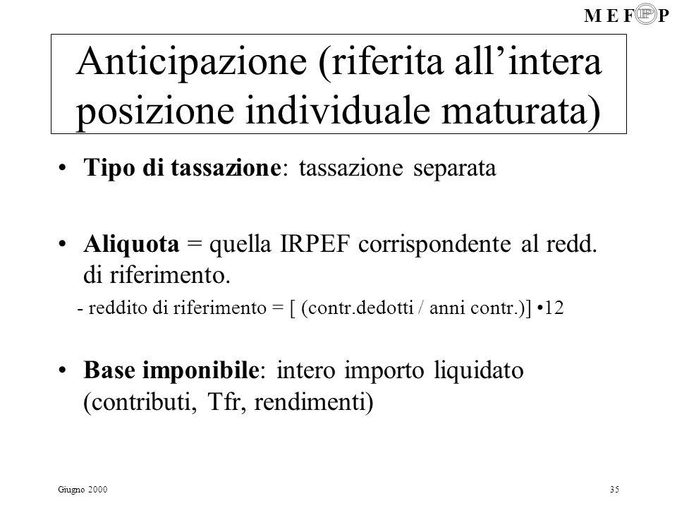 M E F P Giugno 200035 Anticipazione (riferita allintera posizione individuale maturata) Tipo di tassazione: tassazione separata Aliquota = quella IRPE