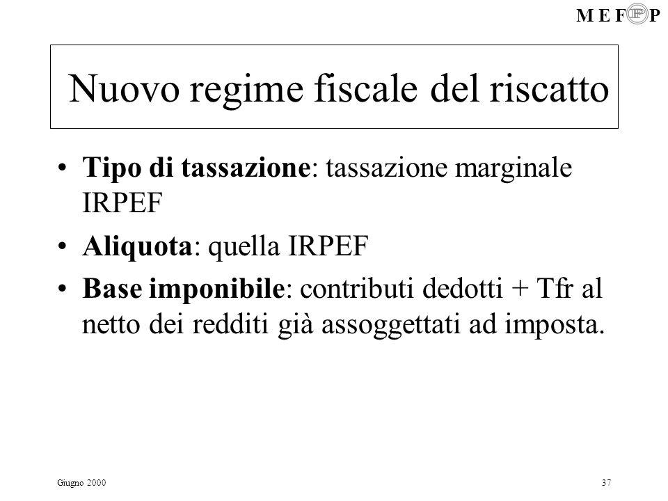 M E F P Giugno 200037 Nuovo regime fiscale del riscatto Tipo di tassazione: tassazione marginale IRPEF Aliquota: quella IRPEF Base imponibile: contrib