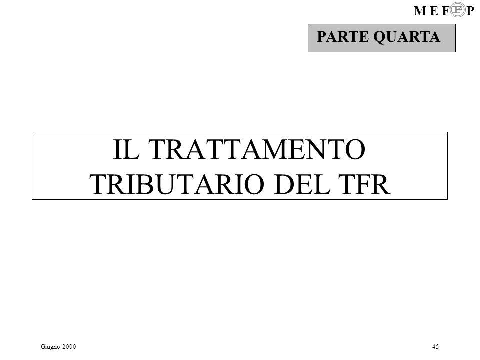 M E F P Giugno 200045 IL TRATTAMENTO TRIBUTARIO DEL TFR PARTE QUARTA