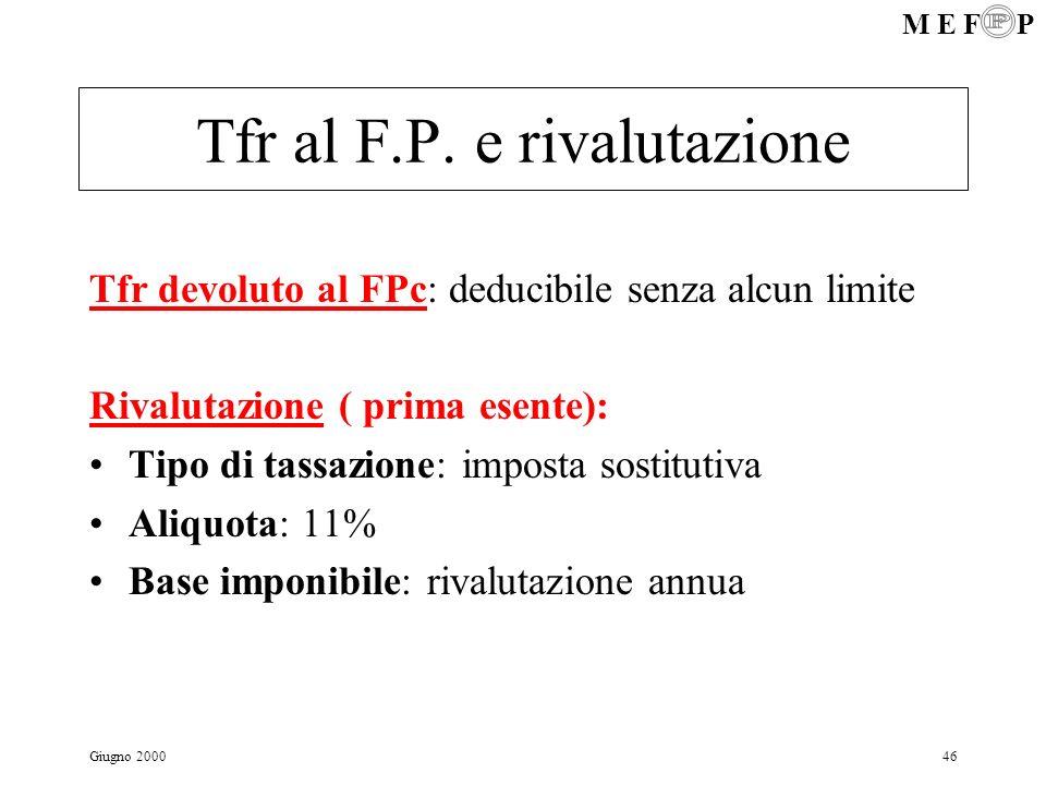 M E F P Giugno 200046 Tfr al F.P. e rivalutazione Tfr devoluto al FPc: deducibile senza alcun limite Rivalutazione ( prima esente): Tipo di tassazione