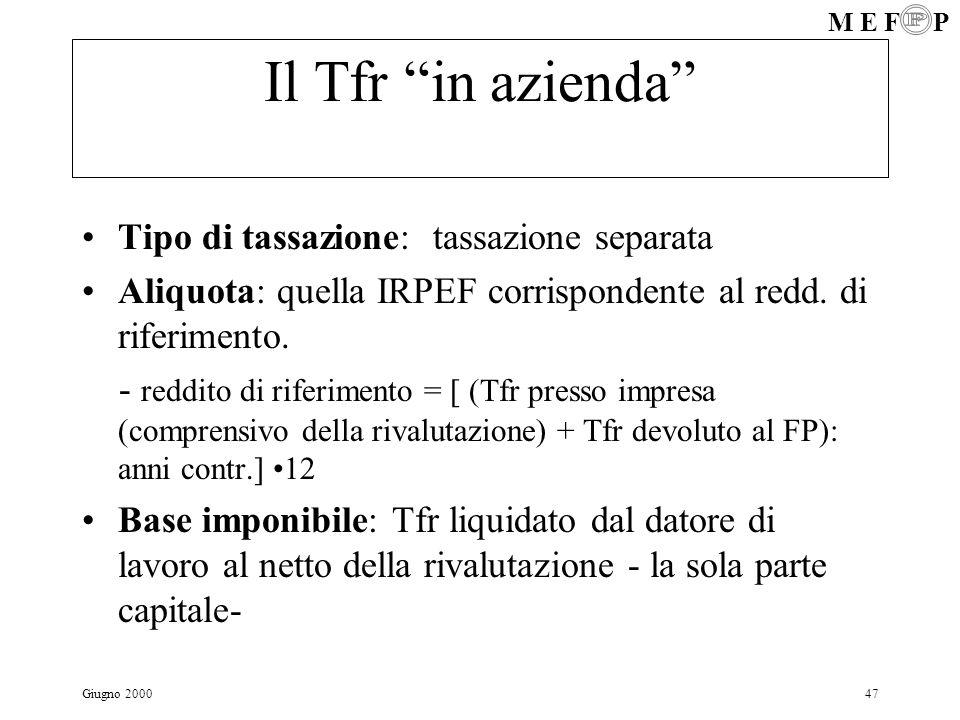 M E F P Giugno 200047 Il Tfr in azienda Tipo di tassazione: tassazione separata Aliquota: quella IRPEF corrispondente al redd. di riferimento. - reddi