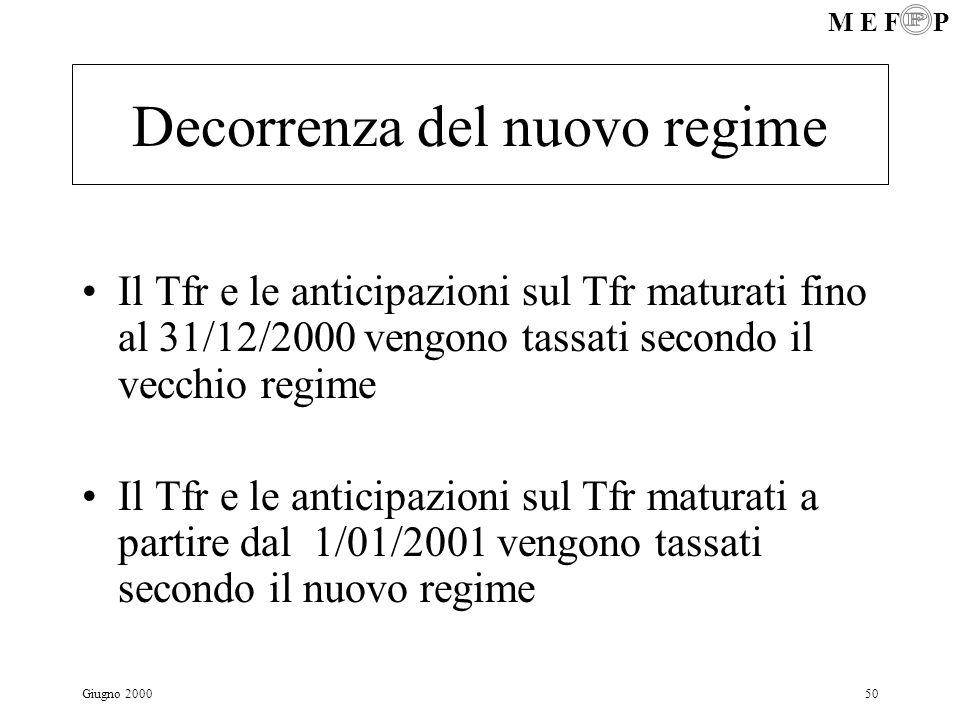 M E F P Giugno 200050 Decorrenza del nuovo regime Il Tfr e le anticipazioni sul Tfr maturati fino al 31/12/2000 vengono tassati secondo il vecchio reg