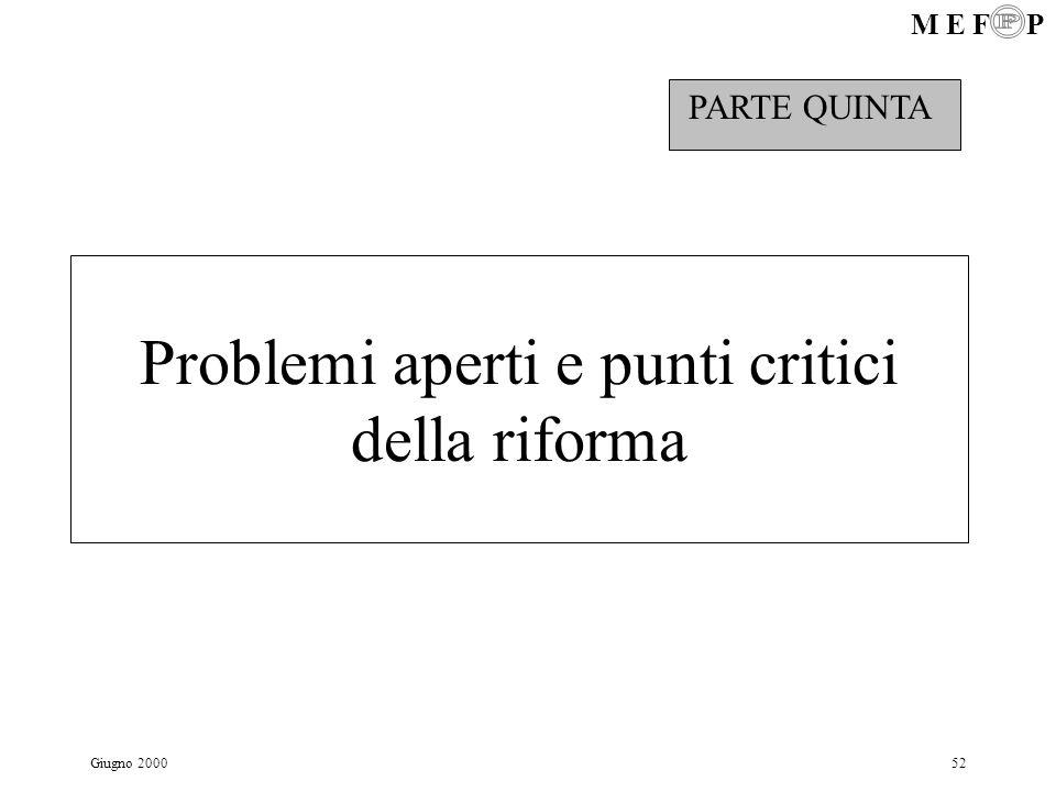 M E F P Giugno 200052 Problemi aperti e punti critici della riforma PARTE QUINTA
