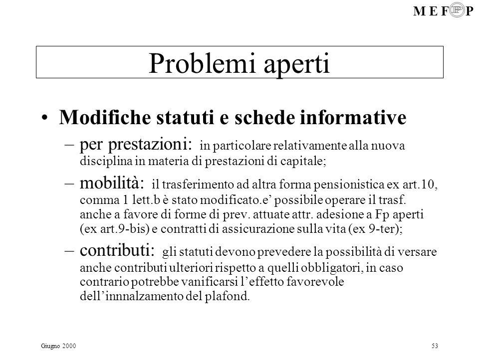 M E F P Giugno 200053 Problemi aperti Modifiche statuti e schede informative –per prestazioni: in particolare relativamente alla nuova disciplina in m