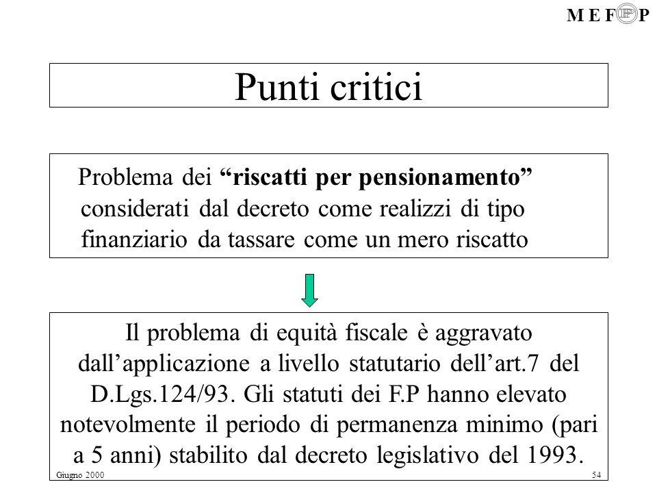 M E F P Giugno 200054 Punti critici Problema dei riscatti per pensionamento considerati dal decreto come realizzi di tipo finanziario da tassare come