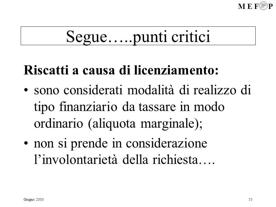 M E F P Giugno 200055 Segue…..punti critici Riscatti a causa di licenziamento: sono considerati modalità di realizzo di tipo finanziario da tassare in