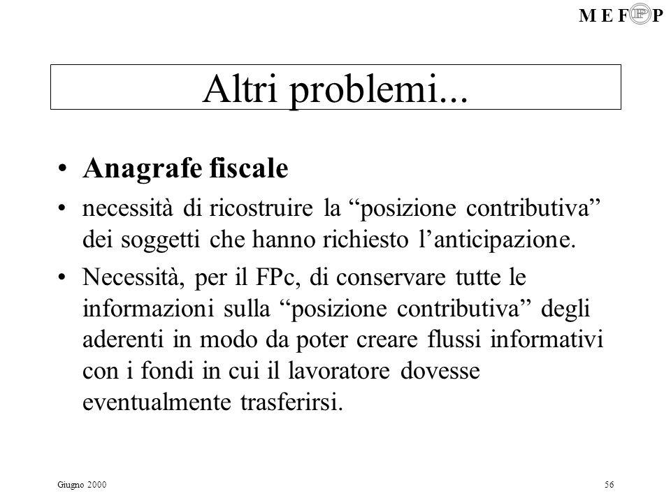 M E F P Giugno 200056 Altri problemi... Anagrafe fiscale necessità di ricostruire la posizione contributiva dei soggetti che hanno richiesto lanticipa