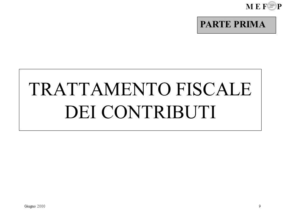 M E F P Giugno 200040 Prestazioni alla pensione…2 Capitale se > di 1/3 ma < di 1/2 del montante : tipo di tassazione: tassazione separata aliquota: quella IRPEF corrispondente al redd.