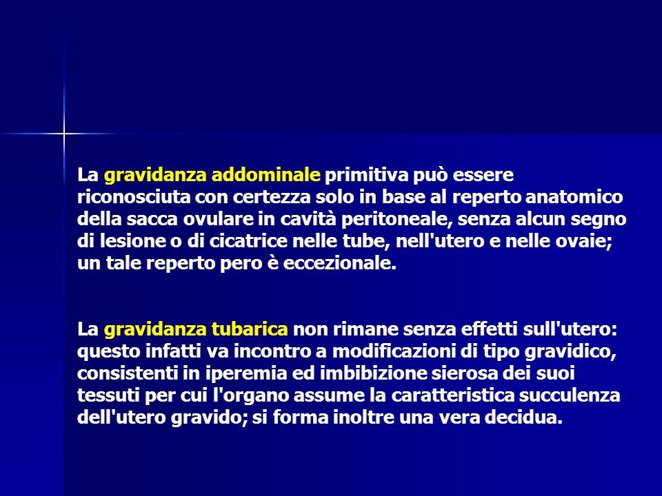 La gravidanza addominale primitiva può essere riconosciuta con certezza solo in base al reperto anatomico della sacca ovulare in cavità peritoneale, s