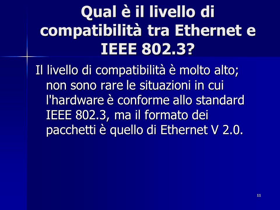 11 Qual è il livello di compatibilità tra Ethernet e IEEE 802.3? Il livello di compatibilità è molto alto; non sono rare le situazioni in cui l'hardwa