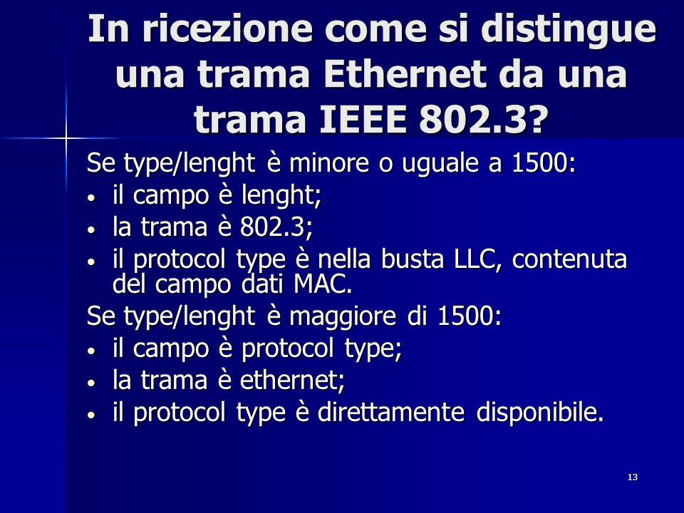 13 In ricezione come si distingue una trama Ethernet da una trama IEEE 802.3? Se type/lenght è minore o uguale a 1500: il campo è lenght; il campo è l