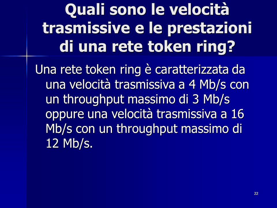 22 Quali sono le velocità trasmissive e le prestazioni di una rete token ring? Una rete token ring è caratterizzata da una velocità trasmissiva a 4 Mb