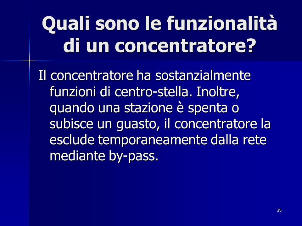 25 Quali sono le funzionalità di un concentratore? Il concentratore ha sostanzialmente funzioni di centro-stella. Inoltre, quando una stazione è spent