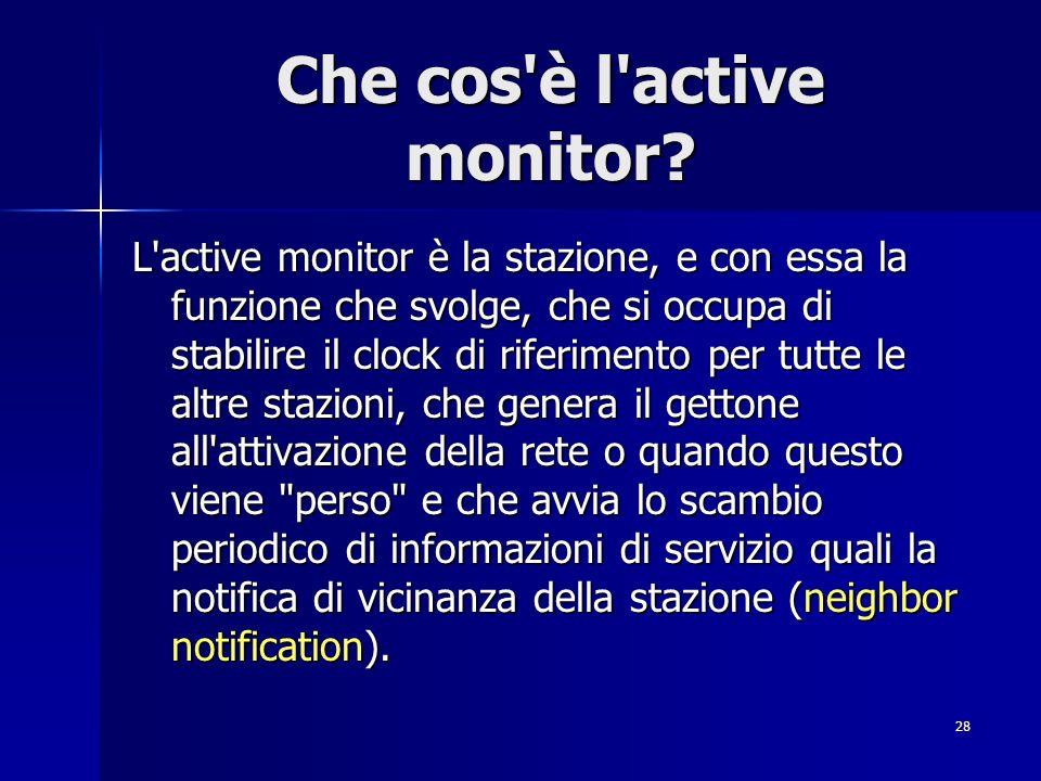28 Che cos'è l'active monitor? L'active monitor è la stazione, e con essa la funzione che svolge, che si occupa di stabilire il clock di riferimento p