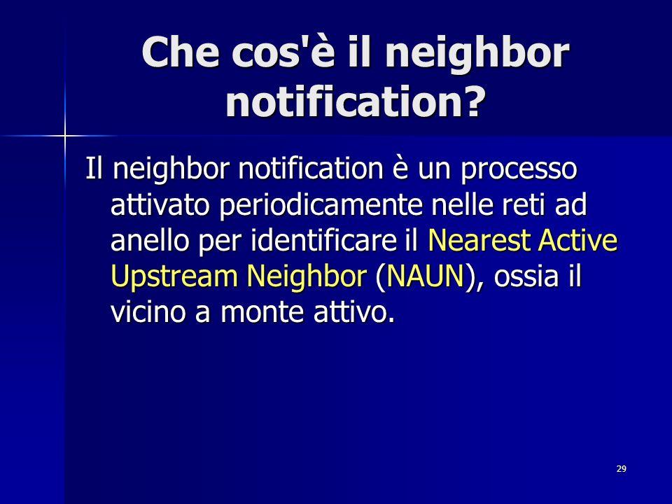 29 Che cos'è il neighbor notification? Il neighbor notification è un processo attivato periodicamente nelle reti ad anello per identificare il Nearest