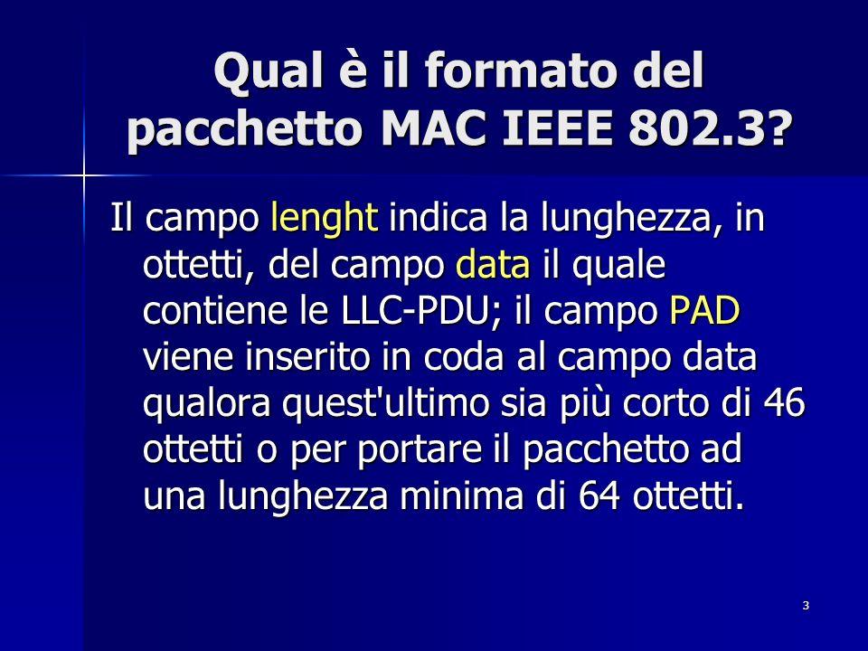3 Qual è il formato del pacchetto MAC IEEE 802.3? Il campo lenght indica la lunghezza, in ottetti, del campo data il quale contiene le LLC-PDU; il cam