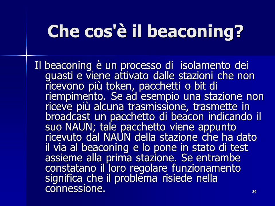 30 Che cos'è il beaconing? Il beaconing è un processo di isolamento dei guasti e viene attivato dalle stazioni che non ricevono più token, pacchetti o