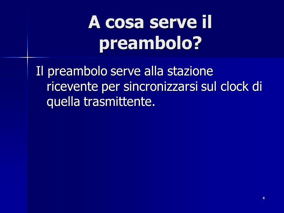 4 A cosa serve il preambolo? Il preambolo serve alla stazione ricevente per sincronizzarsi sul clock di quella trasmittente.